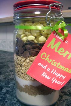 Christmas Chocolate Chip Cookies In A Jar