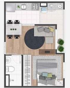 Garage Apartments, Tiny Apartments, Bedroom Floor Plans, Houseplants, Kids Rugs, Colours, Flooring, How To Plan, Architecture