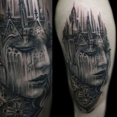 Tattoo artist Tony Mancia likes to include elements of gothic architecture in his portraits of beautiful women.