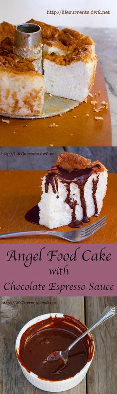 Classic from scratch Angel Food Cake with Chocolate Espresso Sauce