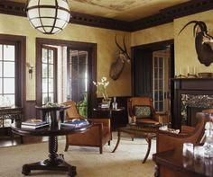 home office. I love the texture and color. I also love the furniture. It looks very masculine. Husband would like