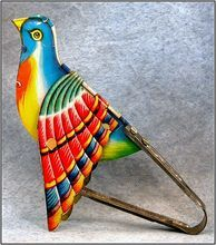 Tin Litho Bird Penny Toy Mechanical Flapping Wings