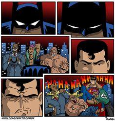 Eduardo Lucas Nascimento, known as Dragonarte, is a Brazilian comic artist. He draws Marvel and DC Comics universe in his own style Humor Batman, Funny Batman, Batman E Superman, Rage Comic, Beste Comics, Nananana Batman, 4 Panel Life, Univers Dc, Superhero Memes
