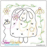 Prim Spring Sheep 1 Machine Redwork Design 4x4