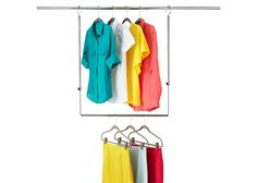 You can also quite literally double the space in your closet by hanging a secondary rack for clothes off of the first one. Genius!