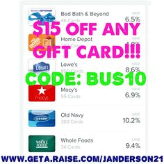 ⚡️$15 off ANY GIFT CARD⚡️ is back!!!! Go to www.geta.raise.com/janderson21 and you will automatically get $5 off. During checkout enter code: Bus10 for an additional $10 off. Hurry before it's too late!!!  #raise #raiseapp #giftcard #giftcards #christmasgifts