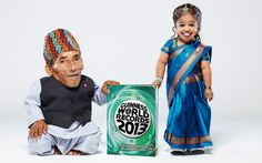 The world's shortest woman, 18-year-old Jyoti Amge (62.8 cm), stands with the world's shortest man, 72-year-old Chandra Bahadur Dangi (54.6 cm) for the first time for the upcoming Guinness World Records 2013 book out on the 13th of September  Picture: Paul Michael Hughes/Guinness World Records