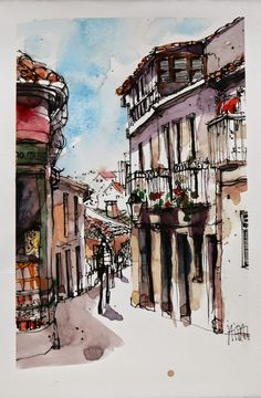 Enjoy These Cityscapes In The Form Of Urban Sketches: 40 Beautiful Locations - Bored Art Watercolor Landscape, Watercolor Art, Watercolor Portraits, Watercolor Flowers, Pen And Wash, Colour Architecture, Pics Art, Sketch Inspiration, Urban Sketchers