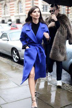 Emily Ratajkowski wearing Brian Atwood Tamara Sandals and McQ Alexander McQueen Belted Coat