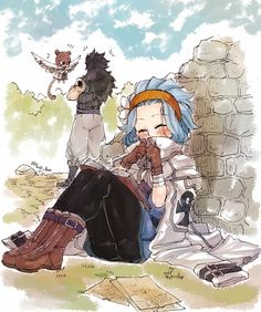 Gajeel x Levy ~Fairy Tail~ Gale Fairy Tail, Fairy Tail Nalu, Fairy Tale Anime, Fairy Tail Guild, Fairy Tail Ships, Fairy Tales, Fairytail, Jerza, Kawaii