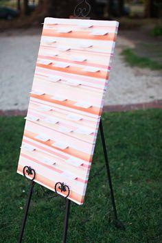 ribbons on escort card board