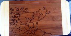 Custom wolf cutting board  by bitchNstitch2013 on Etsy