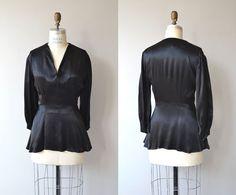 Carpe Noctum blouse   vintage 1930s blouse   black silk 30s peplum blouse