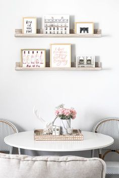 Dining Room Tour and Art Wall | Home Decor | Blush, White, and Black Decor | Blogger Home Tour | Small Apartment Home Decor Ideas | Minted Art Wall