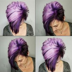 Hairlook Hairstyles A purple pixie post from Which do you like better the cut or color?Hairlook Hairstyles A purple pixie post from Heididoeshair. Which do you like better the cut or color? -Nothing But Pixies Hair Color Purple, Cool Hair Color, Pink Hair, Blue Hair, Purple Pixie Cut, Purple Hair Streaks, Bright Hair Colors, Burgundy Hair, Brown Hair