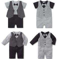 Baby Kid Toddler Boy Gentleman Onesie Bodysuit Romper Jumpsuit Tuxedo Outfit Set