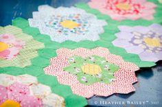 Grandmothers Flower Garden Quilt. I like the green in between!