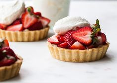 This looks perfect for summer nights and a special birthday dinner! west elm - Strawberry Tartlets with Basil Cream by Tessa Huff of Style Sweet CA