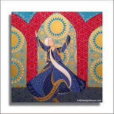 Original Painting Whirling Dervish Sufi Dance Rumi Miniature - AESMPM0042