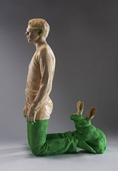 Artist Willy Verginer lives and works in a small town called Ortisei in South Tyrol, Italy. His figurative sculptures are carved from solid pieces of lindenwood and often painted with acrylic or accompanied by additional materials.