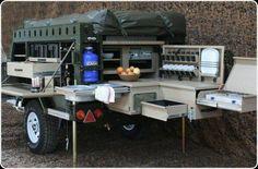 a great camper trailer kitchen set up! Expedition Trailer, Overland Trailer, Cargo Trailers, Utility Trailer, Camper Trailers, Truck Camper, Bug Out Trailer, Trailer Tent, Off Road Trailer