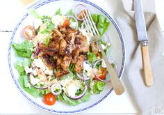 Gresk couscoussalat med marinert svinekjøtt og fetaost - Elin Larsen