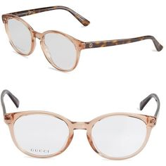 Gucci 50MM Oval Optical Glasses ($150) ❤ liked on Polyvore featuring accessories, eyewear, eyeglasses, oval glasses, clear eye glasses, red glasses, clear eyeglasses and clear eyewear