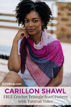 Crochet Triangle Scarf, Crochet Poncho, Crochet Yarn, Crochet Scarves, Free Crochet, Summer Wraps, Crochet Shawls And Wraps, Crochet Designs, Crochet Patterns