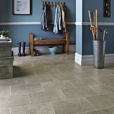 """Featuring a realistic limestone design, Portland Stone combines warm beige and mid-grey tones and is available in a trendy wider scale 18x12"""" tile format. The colour tones and design are perfect for a modern country feel - an ideal combination of style and practicality.  Order your #free sample today! Kardean Flooring, Karndean Design Flooring, Vinyl Flooring Kitchen, Hallway Flooring, Kitchen Vinyl, Luxury Vinyl Flooring, Stone Flooring, Wooden Flooring, Flooring Ideas"""