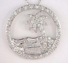 WHITE GOLD DIAMOND PALMETTO PENDANT