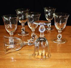 Vintage, Set of 7, Heisey Optic Rose Stem, Pattern 5072, Water Goblets
