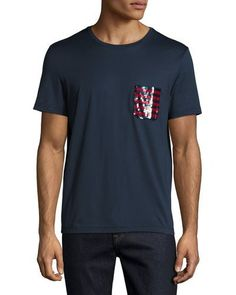 BURBERRY Sequined-Pocket T-Shirt, Navy. #burberry #cloth #