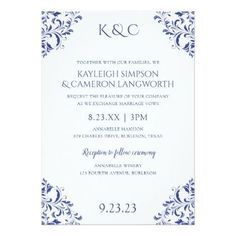 #Nadine Elegant Wedding Invitation | Royal Blue - #weddinginvitations #wedding #invitations #party #card #cards #invitation #vintage #vintageweddinginvitations