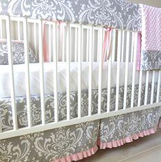 Gray & Pink Damask Crib Rail Bedding set. by babymilanbedding, $230.00
