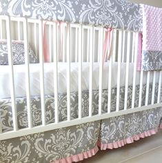 Gray & Pink Damask Crib Rail Bedding set. by babymilanbedding