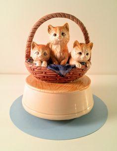 Vintage Otagiri Porcelain Kittens in a Basket by  VintageQuinnGifts #musicbox #vintage #kittens