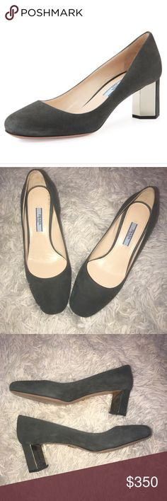 Womens Prada grey suede block heel Like new. Only worn 2 times there are NO signs of wear other then the bottom of shoe (shown in last photo) . Size 371/2 run true to size !! Please see the amazing detail  on the heel !! Perfect shoe for that business Woman! Prada Shoes Heels