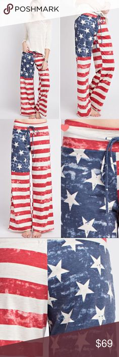 COMING SOON 🇺🇸Stars and Stripes pants🇺🇸 🇺🇸STARS AND STRIPES PANTS🇺🇸 AMERICAN FLAG TERRY PANTS. MEANT TO FLOW LOOSELY FOR COMFORT. TRUE TO SIZE, HIGH QUALITY MATERIAL, MADE WITH LOVE ❤️ IN THE USA.  60% POLYESTER, 35% RAYON, 5% SPANDEX. Pants Boot Cut & Flare