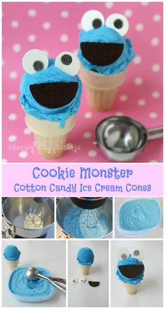 In 5 minutes you can make a super simple 4 ingredient Cotton Candy Ice Cream and when it's frozen use it to create these adorable Cookie Monster Ice Cream Cones. Recipe at HungryHappenings.com