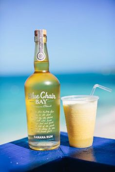 BOOZY BANANA // 2 oz. Blue Chair Bay Banana Rum + 4 oz. pineapple juice + 1 oz. cream of coconut + 1 oz. orange juice // Add all ingredients in a shaker filled with a few ice cubes. Shake and strain into glass filled with ice. Garnish with cherry and oran