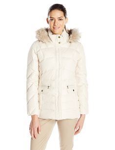 Larry Levine Women's Short Puffer with Faux Fur Trim * This is an Amazon Affiliate link. Click image for more details.