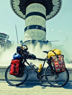 Fully loaded touring bike Thorn Sherpa with Ortlieb panniers in Macedonia