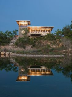 A reflection - Locomotive Ranch Trailer by Andrew Hinman Architecture, Uvalde, Texas, USA