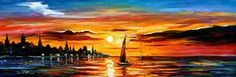 Painting - The Amber Evening - Palette Knife Oil Painting On Canvas By Leonid Afremov by Leonid Afremov , Oil Painting Reproductions, Colorful Paintings, Popular Paintings, Leonid Afremov Paintings, Urban Landscape, Modern Wall Art, Online Art Gallery, Oil Painting On Canvas, Original Paintings
