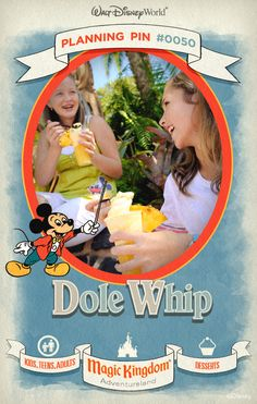 Walt Disney World Planning Pins: Dole out smiles with the much sought-after soft-serve treat Dole Whip, in pineapple, orange, vanilla or swirled. Floats, soft-serve ice cream, fresh pineapple spears, chips and soft drinks are also available from this walk-up window.
