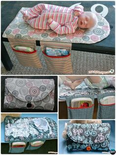 Sewing Baby Gift DIY Baby Changing Pad Travel Clutch Bag Sew Pattern Picture Instructions with Video - Baby Changing Pad Travel Diaper Clutch Bag Sew Pattern Free: Portable Baby Travel Changing Pad / Mat with Diaper Bag Storage All-in-One Instructions Baby Shower Gifts To Make, Diy Baby Gifts, Baby Crafts, Baby Changing Mat, Diaper Changing Pad, Handgemachtes Baby, Baby Kind, Sew Baby, Diaper Clutch