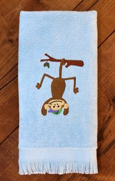 Monkeying Around Fingertip Towel with Machine Embroidered Boy Monkey by StitchedByAnnemarie