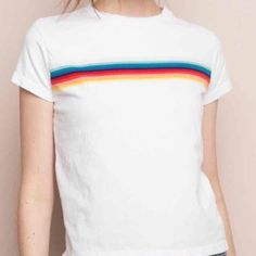 Brandy Melville rainbow Ali top (white) Rainbow stripes on a white crop top! Worn once, absolutely perfect condition!! Only selling cuz I don't like how it looks on me Brandy Melville Tops Tees - Short Sleeve