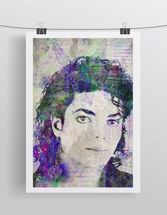 Michael Jackson Poster, Michael Jackson Portrait Gift, Michael The King of Pop Colorful Layered Tribute Fine Art