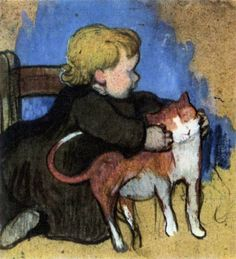 Paul Gauguin - 1890, Mimi and Her Cat. Gouache on cardboard. Private collection